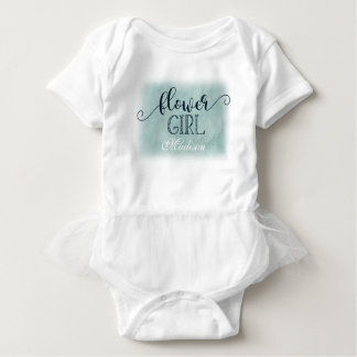 Navy Blue Aqua Watercolor Wedding Flower Girl Baby Bodysuit
