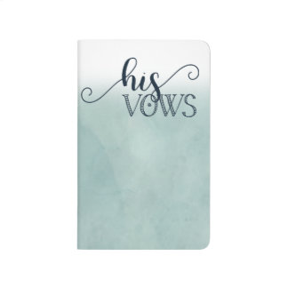 Navy Blue Aqua Watercolor Wedding His Vows Journal