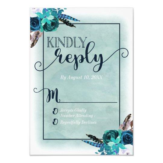 Navy Blue & Aqua Watercolor Wedding Reply RSVP Card