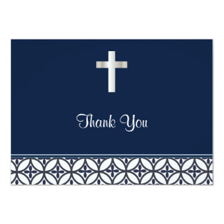 Navy Blue Baptism Thank You Card