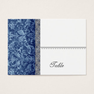 Navy Blue Batik Feeling  Damask Table Place Card