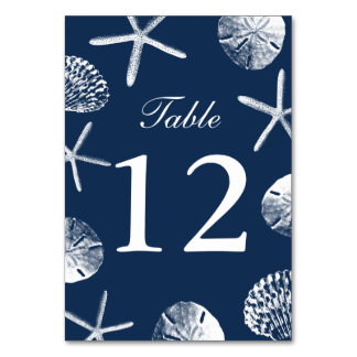 Navy Blue Beach Theme Seashells Table Numbers Table Card