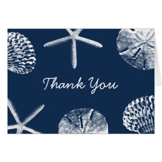 Navy Blue Beach Theme Seashells Thank You Card