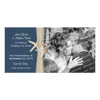 Navy Blue Beach Wedding Starfish Save the Date Photo Card Template