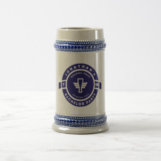 Navy Blue Beer Badge Bachelor Party Branding Beer Stein
