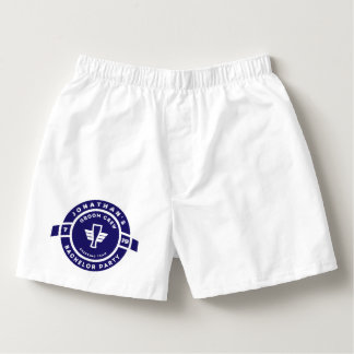 Navy Blue Beer Badge Bachelor Party Branding Boxers
