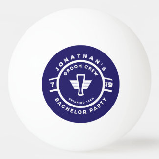 Navy Blue Beer Badge Bachelor Party Branding Ping Pong Ball