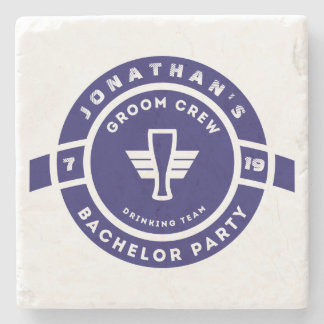 Navy Blue Beer Badge Bachelor Party Branding Stone Coaster