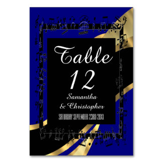 Navy blue, black and gold personalized number table cards