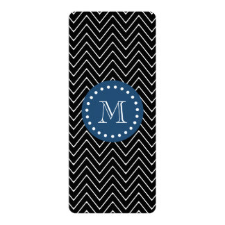 Navy Blue, Black and White Chevron Pattern   Your 4x9.25 Paper Invitation Card