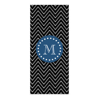 Navy Blue, Black and White Chevron Pattern | Your 4x9.25 Paper Invitation Card