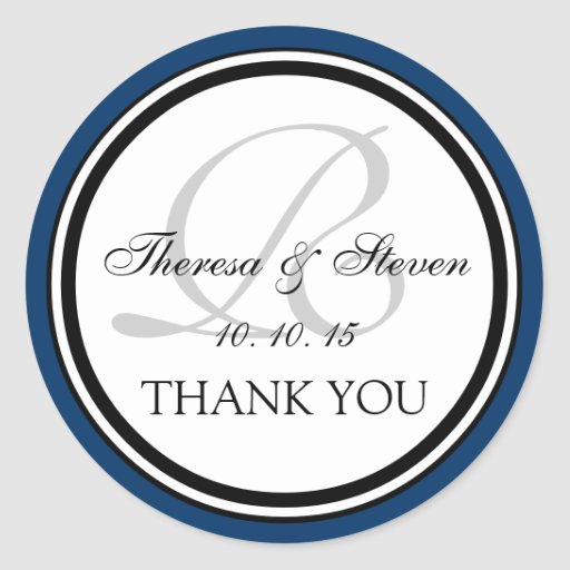 Navy Blue Black Monogram R Wedding Thank You Stickers