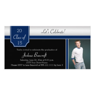 Navy Blue Black Silver Photo Graduation Party Personalized Photo Card