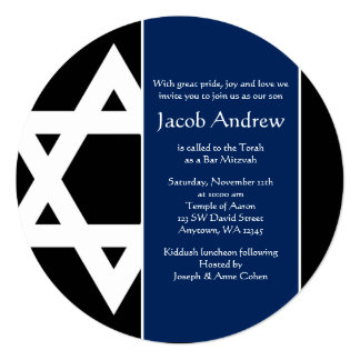 "Navy Blue Black Star of David Round Bar Mitzvah 5.25"" Square Invitation Card"