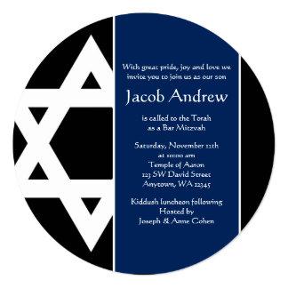 Navy Blue Black Star of David Round Bar Mitzvah Card