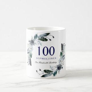 Navy Blue Black White Floral 100th Birthday Gift Coffee Mug