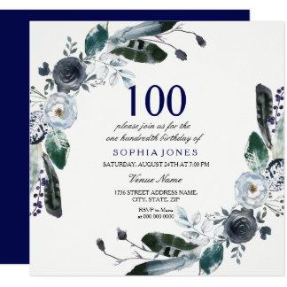 Navy Blue Black White Floral 100th Birthday Invite