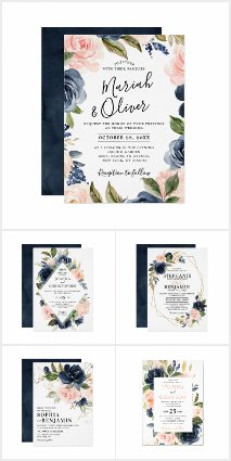 Navy Blue Blush Pink Roses