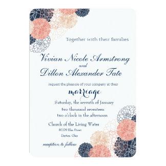 Navy Blue Blush Wedding Invitation