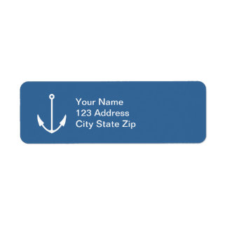 Navy blue boat anchor return address labels