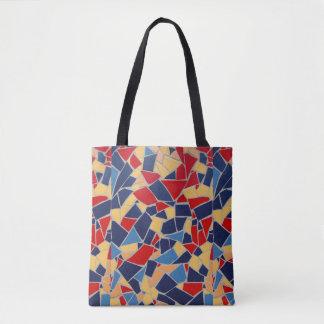 Navy Blue Broken Tile Mosaic Tote Bag