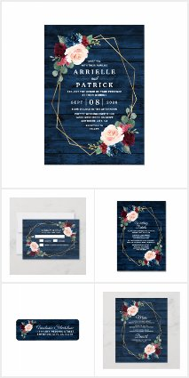 Navy Blue Burgundy Gold Blush Pink Wedding Set