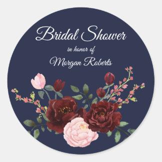 Navy Blue burgundy pink rose Bridal Shower Classic Round Sticker