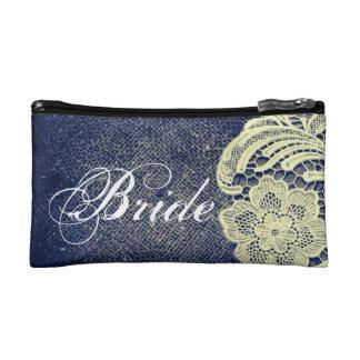navy blue burlap lace rustic vintage bride makeup bags