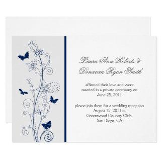 Navy Blue Butterflies Ornate Swirls Post Wedding Card