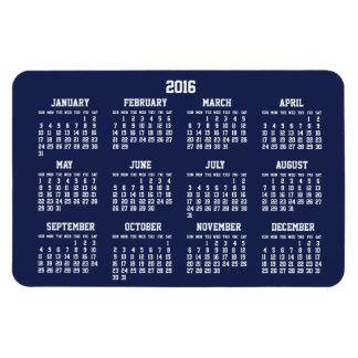 Navy Blue Calendar 2016 Large Flexible Magnets 4x6