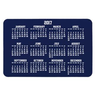 Navy Blue Calendar 2017 Large Flexible Magnets
