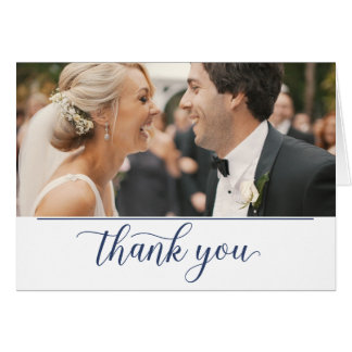 Navy Blue Calligraphy Photo Thank You Card
