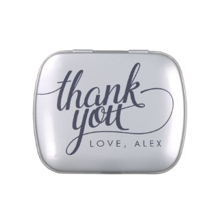 Navy Blue Calligraphy Thank You Party Favors