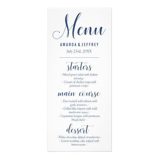 Navy Blue Calligraphy Wedding Menu Rack Card Template
