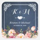 Navy Blue Chalkboard Floral Wedding Favour Square Sticker
