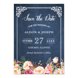 Navy Blue Chalkboard Pink Floral Save the Date Card