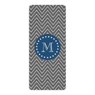"Navy Blue, Charcoal Gray Chevron Pattern | Your Mo 4"" X 9.25"" Invitation Card"