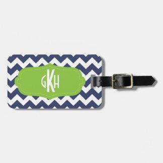 Navy blue chevron and green. Monogram Luggage Tag