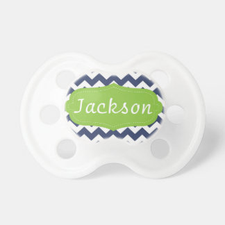 Navy blue chevron and green. Monogram Pacifier