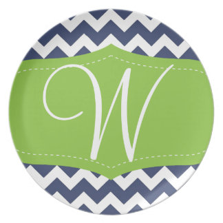 Navy blue chevron and green. Monogram Party Plate