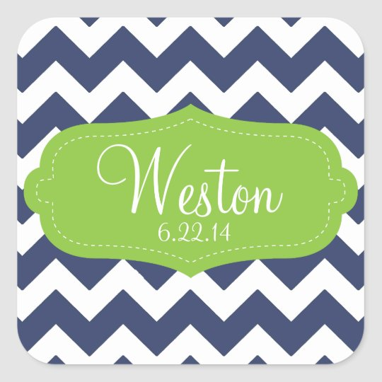 Navy blue chevron and green. Monogram Square Sticker