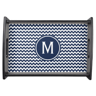 Navy Blue Chevron Monogram Serving Tray