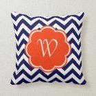 Navy Blue Chevron Monogram Throw Pillow