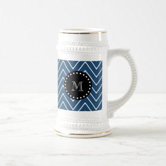 Navy Blue Chevron Pattern | Black Monogram Beer Stein