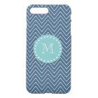 Navy Blue Chevron Pattern | Mint Green Monogram iPhone 8 Plus/7 Plus Case