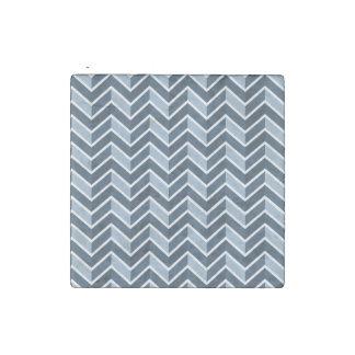 Navy Blue Chevron Pattern Stone Magnets