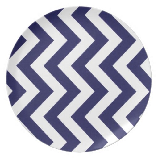 Navy Blue Chevron Party Plate