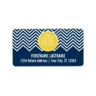 Navy Blue Chevrons with Custom Yellow Monogram Label