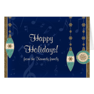 Navy Blue Christmas Ornaments Holiday Card