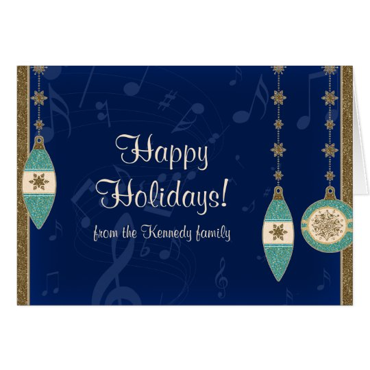 Navy Blue Christmas Ornaments Holiday Card
